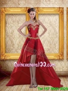 Cheap High Low Sweetheart Wine Red Beading Dama Dresses