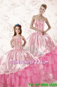 Wonderful Embroidery and Ruffles 2015 Princesita Dress in Pink