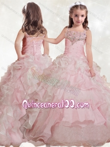 Delicate Beaded and Ruffled Layers Little Girl Pageant Dress with Straps