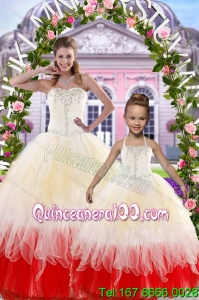 2015 Ball Gown Multi Color Princesita Dress with Beading and Ruffles