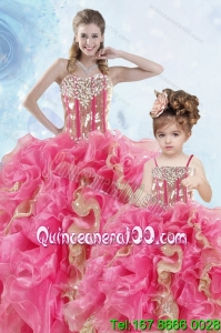 2015 Luxurious Beading and Ruffles Organza Princesita Dress in Multi Color