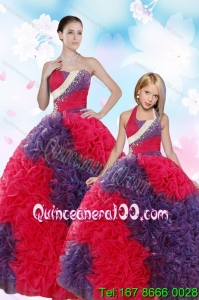2015 Multi Color Ball Gown Beading and Ruffles Princesita Dress