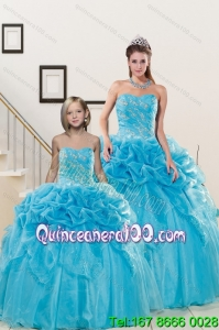 Fashionable Sweetheart Beading Princesita Dress in Aqua Blue