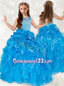 Exclusive Beaded and Ruffled Mini Quinceanera Dress with See Through Scoop