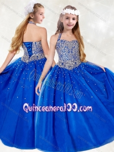 Gorgeous Halter Top Beading Little Girl Pageant Dress in Royal Blue