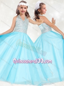 Modest Beaded Baby Blue Mini Quinceanera Dress with Halter Top