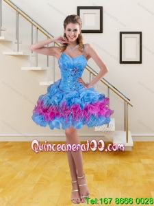 Beautiful Spaghetti Straps Ruffled Layers and Beaded Prom Dress in Blue
