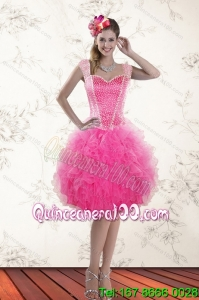 Fashionable Hot Pink 2015 Straps Prom Dresses with Beading and Ruffles