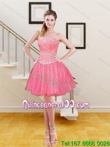 Gorgeous Beading and Embroidery 2015 Prom Dresses in Hot Pink