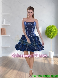 Navy Blue 2015 Prom Dresses with Pick-ups and Beading