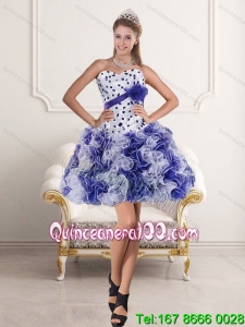 Pretty Sweetheart White and Purple 2015 Prom Dress with Ruffles and Beading