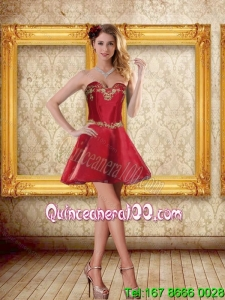 2015 Cheap Sweetheart Wine Red Short Prom Dresses with Beading