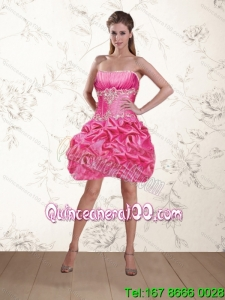2015 Gorgeous Rose Pink Prom Dresses with Ruffles and Beaded