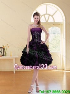2015 Multi Color A Line Ruffled Strapless Knee-length Prom Dress with Beading