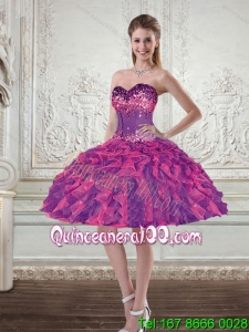 2015 Wonderful Ball Gown Multi Color Prom Dresses with Beading and Ruffles