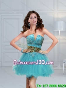 Aqua Blue Leopard Printed Perfect Prom Dress with Beading for 2015