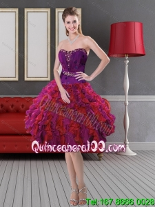 Brand New Style Ruffled Layers and Beading Prom Gown in Multi Color