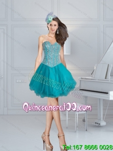 Turquoise Sweetheart Prom Dresses with Beading for 2015