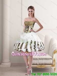 Unique Leopard Printed Ruffles White Strapless Puffy Prom Dresses