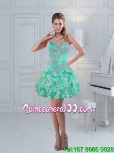 Apple Green Sweetheart Beautiful Prom Dresses with Ruffles and Beading for 2015