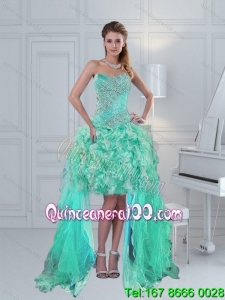 Prettu High Low Sweetheart Prom Dress with Ruffles and Beading in Apple Green