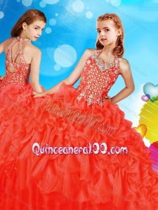 Artistic Beaded and Ruffled Mini Quinceanera Dress in Coral Red
