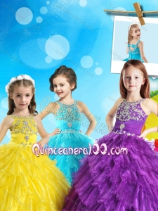 New Style Scoop Mini Quinceanera Dress with Beading and Ruffled Layers