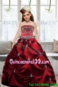 Fashionable 2015 Strapless Wine Red Embroidery Little Girl Pageant Dresses