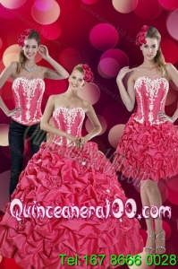 2015 Fashionable Pick Ups and Appliques Hot Pink 16 Birthaday Party Dresses