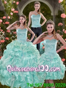 2015 Sophisticated Aqual Blue 16 Birthaday Party Dresses with Beading and Ruffles