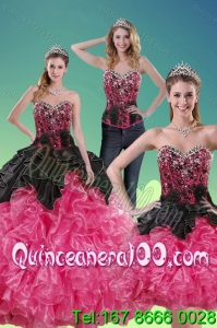 2015 Unique Multi Color 16 Birthaday Party Dresses with Beading and Ruffles