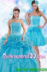 Exquisite Appliques and Pick Ups Teal 16 Birthaday Party Dresses for 2015