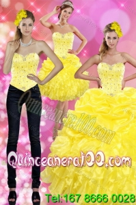 Most Popular Yellow 2015 16 Birthaday Party Dresses with Beading and Ruffles