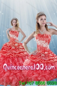 Romantic Watermelon Red 16 Birthaday Party Dresses with Appliques and Ruffles
