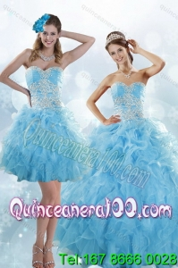 Sophisticated Appliques and Ruffles Baby Blue 16 Birthaday Party Dresses