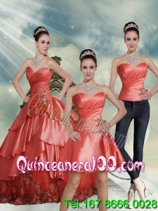 2015 Detachable Beading Watermelon Sweetheart 16 Birthaday Party Dresses