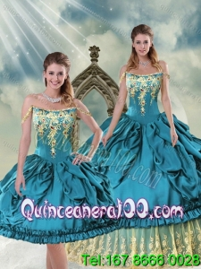 2015 Gorgeous Off The Shoulder Embroidery and Pick Ups 16 Birthaday Party Dresses in Teal