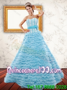 2015 Light Blue Strapless 16 Birthaday Party Dresses with Beading and Ruffled Layers