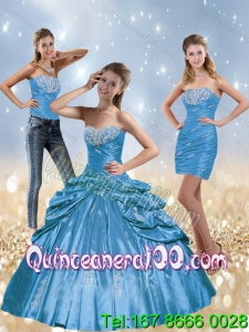 2015 New Style Baby Blue 16 Birthaday Party Dresses with Beading and Pick Ups