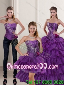 2015 Trendy Purple 16 Birthaday Party Dresses with Ruffled Layers and Beading