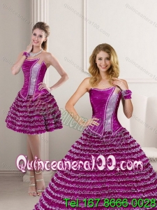 Cute 2015 Fuchsia Strapless 16 Birthaday Party Dresses with Ruffled Layers and Beading