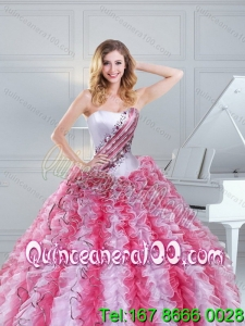 Cute Multi Color Strapless 16 Birthaday Party Dresses with Beading and Ruffles for 2015