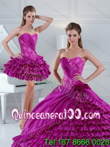 Dynamic Fuchsia 16 Birthaday Party Dresses with Beading and Ruffled Layers for 2015