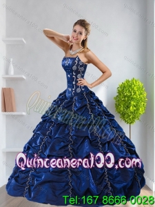 Pretty Navy Blue 2015 16 Birthaday Party Dresses with Pick Ups and Beading