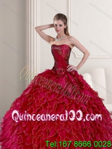 2015 Brand New Wine Red Quince Dress with Ruffles and Beading