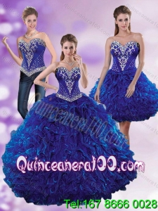 Inexpensive Royal Blue 2015 Elegant Quinceanera Dresses with Beading and Ruffles