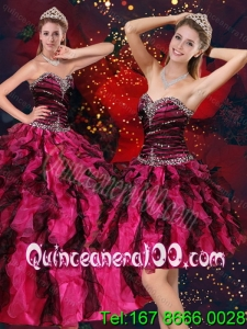 Pretty Multi Color Spring Quinceanera Dresses with Beading and Ruffles