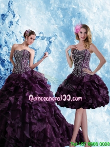 Sweetheart Burgundy Spring Quinceanera Dresses with Ruffles and Beading