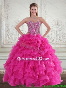 Sweetheart Hot Pink 2015 Spring Quinceanera Dresses with Beading and Ruffles