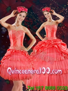 Strapless Quinceanera Dresses with Beading and Pick Ups in Coral Red
